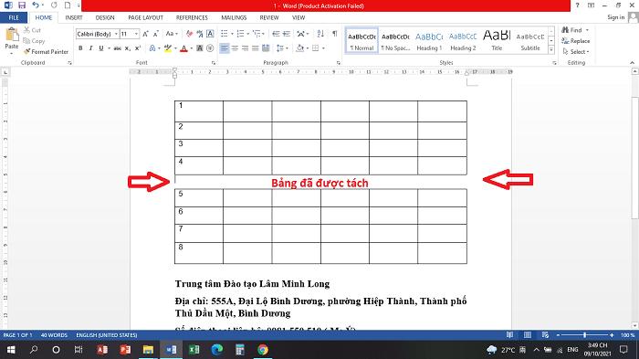 Ví dụ: hình dưới Đào tạo Bình Dương đã tạo 1 cái bảng với 6 cột và 8 hàng